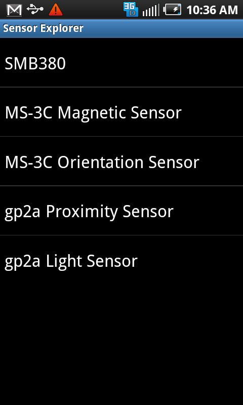 Android Screen Shot: List of devices